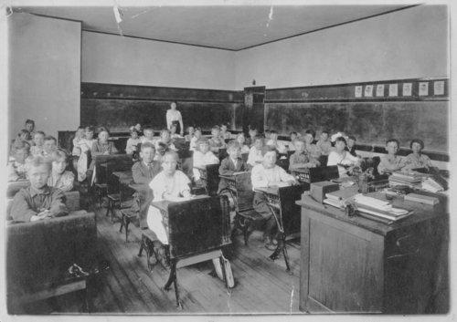 Interior view of a schoolroom, Syracuse, Hamilton County, Kansas - Page