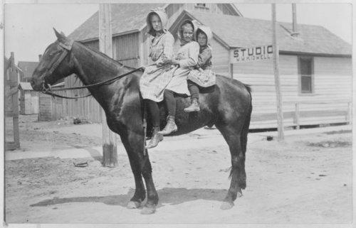 Children riding a horse, Syracuse, Hamilton County, Kansas - Page