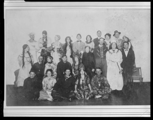Unidentified group on stage, Syracuse, Hamilton County, Kansas - Page