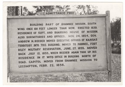 Information sign at the Shawnee Indian Mission in Fairway, Kansas. - Page