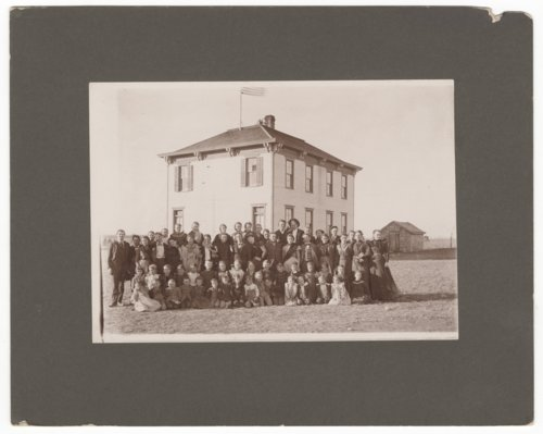 Students in front of their school in Wilsey, Kansas - Page