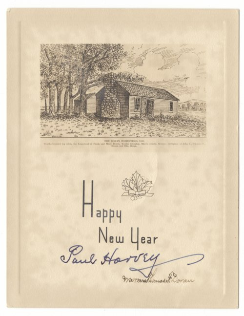 New year's card with illustration of Doran homestead - Page