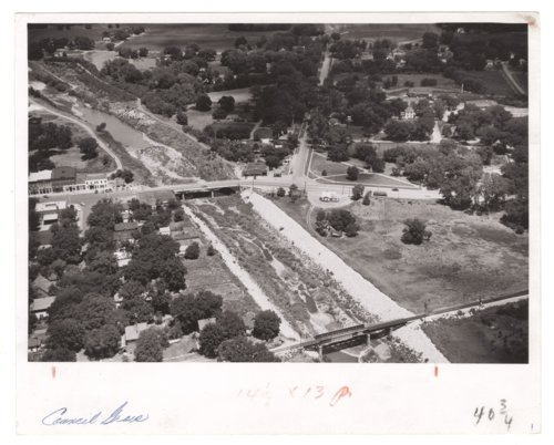 Aerial view of the Neosho River in Council Grove, Kansas - Page
