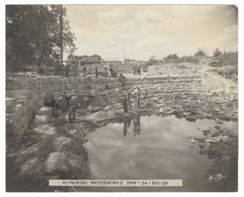 Repairing waterworks dam in Council Grove, Kansas - Page