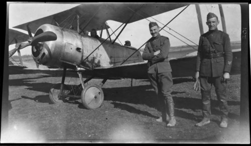 Aviation Field, Le Valdabon; Lewis just going up. Schmidt in rubber boots, France - Page