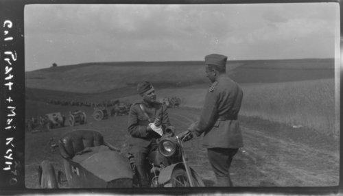 Col. Pratt & Maj. Reynolds, In field, on bike with side car - Page