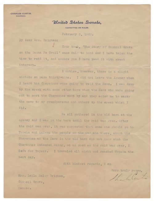 Letter from Charles Curtis to Lalla Maloy Brigham - Page