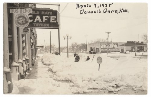 Snow scene in downtown Council Grove, Kansas - Page