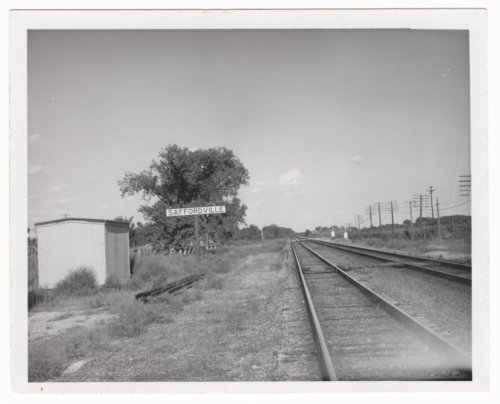 Atchison, Topeka and Santa Fe Railway Company shed depot and sign board - Page