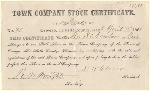Town Company Stock Certificate for Oswego, Kansas - Page