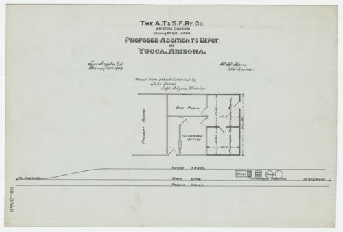 Proposed addition to depot at Yucca in Arizona Territory, AT&SF Ry Co., Arizona Division - Page