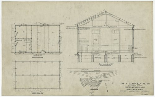 Proposed Atchison, Topeka and Santa Fe Railway mechanical office at Seligman, Arizona - Page