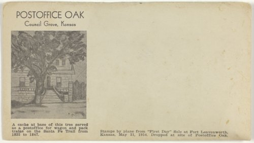 Post Office Oak postcard and wooden nickel certificate souvenir - Page