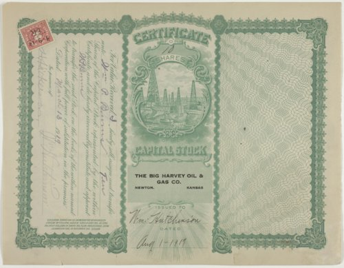 Big Harvey Oil and Gas Company stock certificate #854 - Page