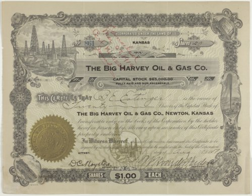 Big Harvey Oil and Gas Company stock certificate #861 - Page