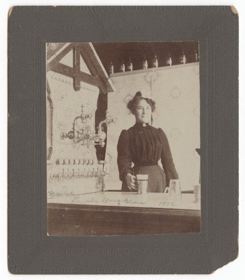 Minnie Klapp Harvey at Leeche's Drug Store, Council Grove, Kansas - Page