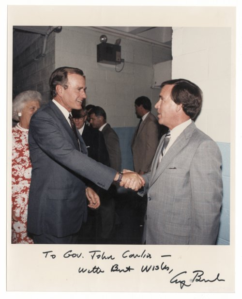 Governor John William Carlin shaking hands with Vice President George H. W. Bush - Page