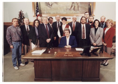 Topeka statehouse press corps with Governor Joan Finney - Page