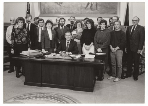 Topeka statehouse press corps with Governor John Carlin - Page
