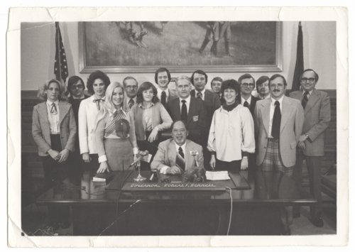 Topeka statehouse press corps with Governor Robert Bennett - Page