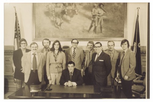 Topeka statehouse press corps with Governor Robert Docking - Page