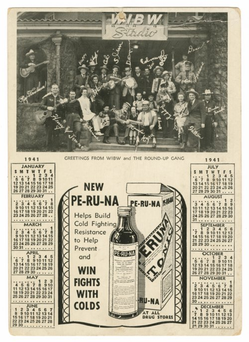 1941 calendar with a photograph of the WIBW Round-Up Gang - Page
