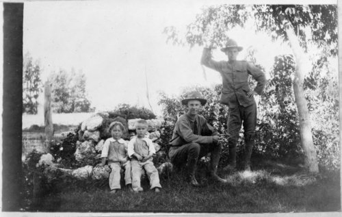 Abram and John Pratt, with two little boys, Studley Home Guard, Studley, Sheridan County, Kansas - Page