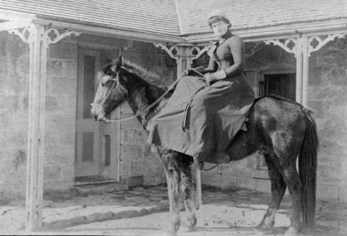 Horse and female rider, John Fenton Pratt home, Studley, Sheridan County, Kansas - Page