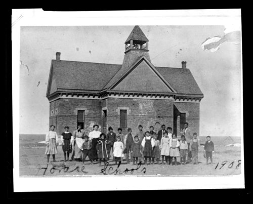 Students in front of the school building, Horace, Greeley County, Kansas - Page