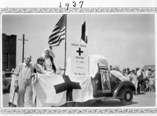 Red Cross float at the county fair parade, Tribune, Greeley County, Kansas, 1937 - Page