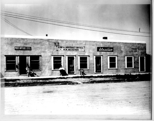 Business building housing post office, D.R. Beckstrom Law and Abstract Office and Studio, and the Tribune Art Shop, Tribune, Greeley County, Kansas - Page