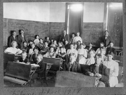 Professor Simpson and his students, Tribune school, Tribune, Greeley County, Kansas - Page