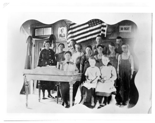 Class portrait, Mount Olive School, Greeley County, Kansas - Page