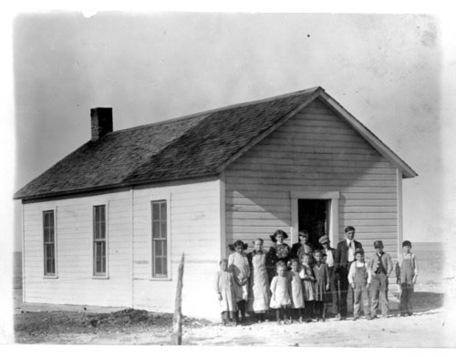 Students pose in front of the Stony Point School, Greeley County, Kansas - Page