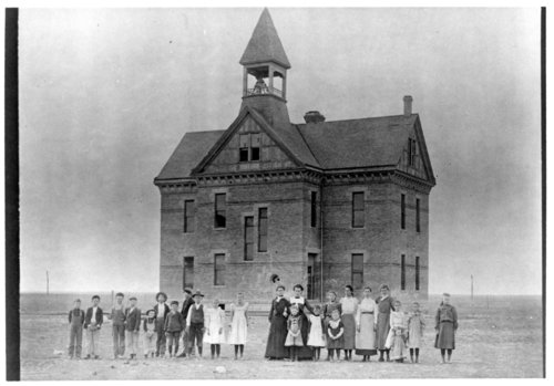 Students in front of school building, Horace, Greeley County, Kansas - Page