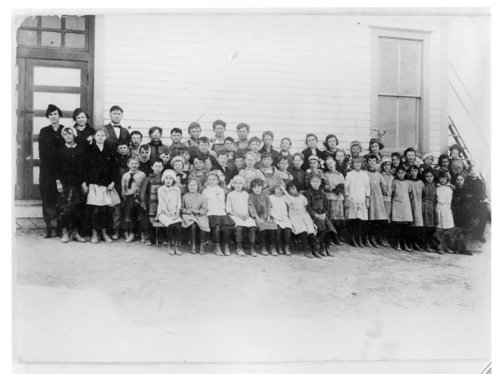 Students and teachers in front of the new school building, Horace, Greeley County, Kansas - Page