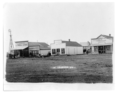 View of business buildings on Broadway Street, Tribune, Greeley County, Kansas - Page