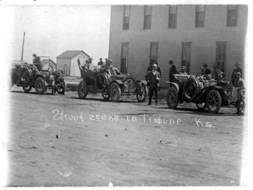 Automobiles on the street, Tribune, Greeley County, Kansas, 1910 - Page