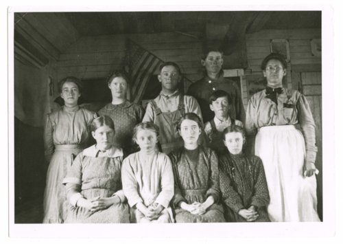 Teacher and students at the Mathews School, Greeley County, Kansas - Page