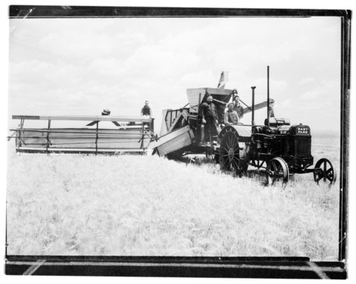 The Buell Lowder rig and crew combining wheat in Greeley County, Kansas - Page