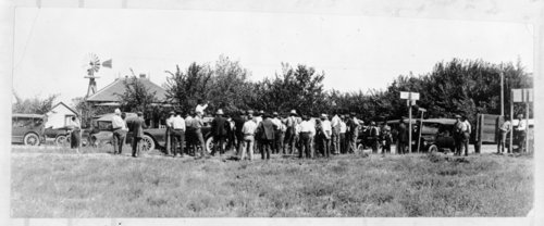 Group of people at a land auction, Tribune, Greeley County, Kansas - Page