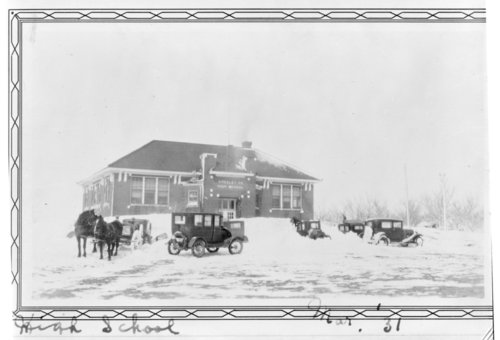 Greeley County High School in the snow, Tribune, Kansas - Page