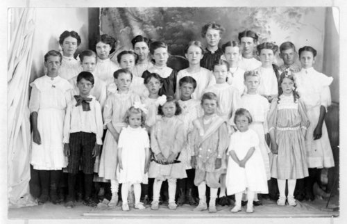 An unidentified group of children pose with their church group, Tribune, Greeley County, Kansas - Page