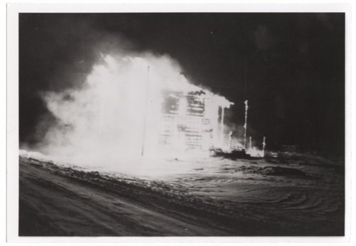 """Fire at old """"air dome,"""" Tribune, Greeley County, Kansas - Page"""