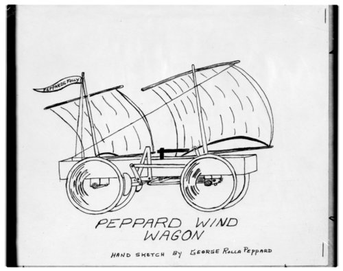 Hand sketch of Peppard wind wagon - Page