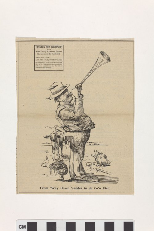 Newspaper clipping of politcial cartoon by Myron A. Waterman - Page