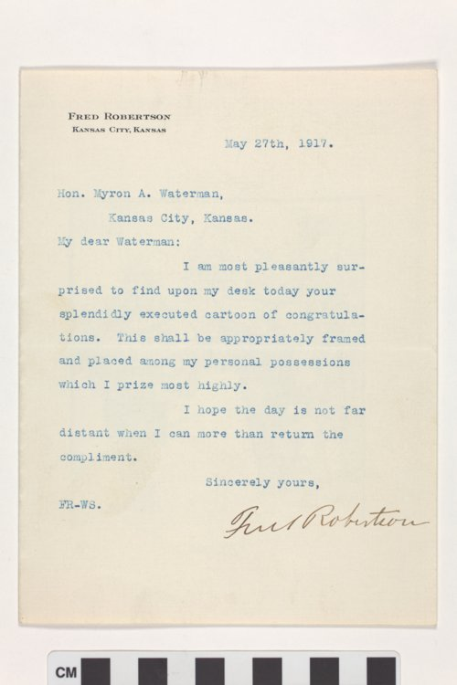 Letter from Fred Robertson to Myron A. Waterman with enclosed political cartoon - Page