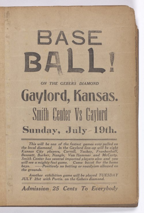 Baseball game handbill from Gaylord, Kansas - Page