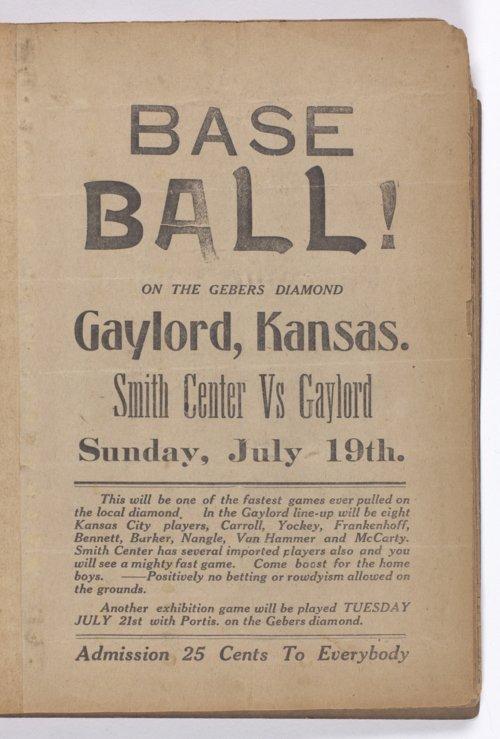Baseball game handbill from Gaylord, Kansas - Page