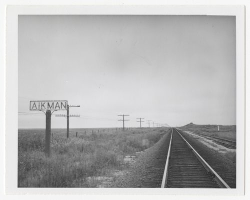 Atchison, Topeka & Santa Fe Railway Company's sign board, Aikman, Kansas - Page